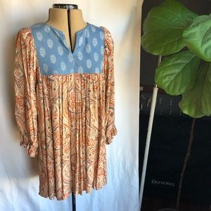 Jodifl paisley & denim blouse